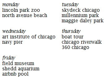 chicago schedule edit again